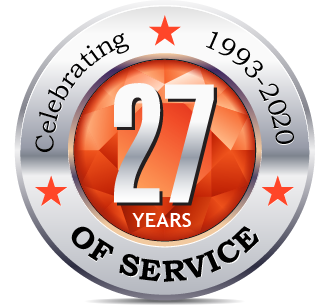 Celebrating 27 years badge